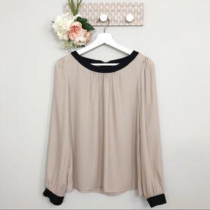 LOFT nude color blouse black trim size XS